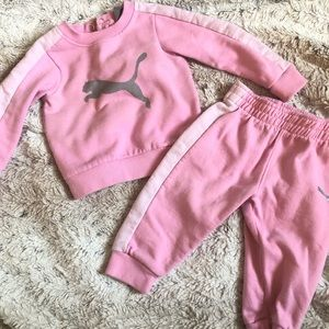 Adorable pink baby girl puma track suit